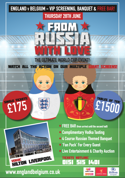 Watch the England v Belgium match VIP style at The Hilton Liverpool